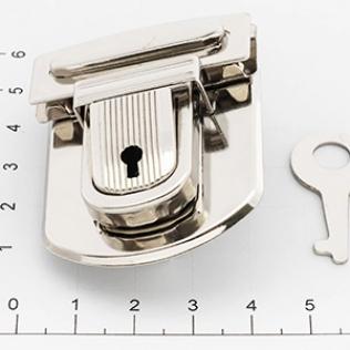 Замок для портфеля и барсетки с ключом 42 мм никель