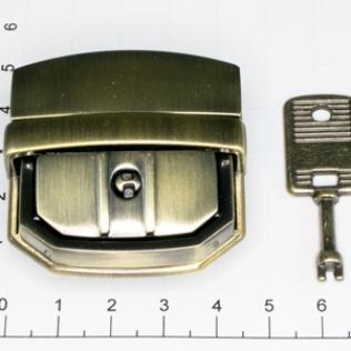 Замок для портфеля и барсетки с ключом 44 мм антик светлый