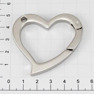 Карабин сердце 56 мм никель