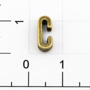 Буквы для наборных браслетов «C» 10 мм антик