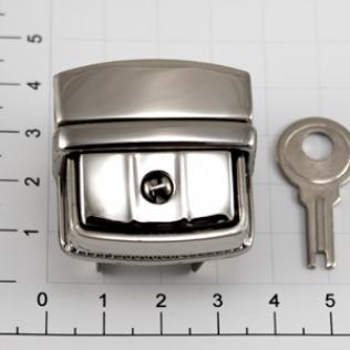 Замок для портфеля и барсетки с ключом 35 мм никель