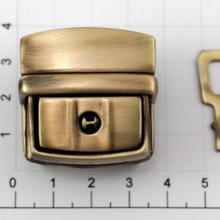 Замок для портфеля и барсетки с ключом 35 мм антик светлый
