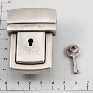Замок для портфеля и барсетки с ключом 42 мм серебро черное (античное)
